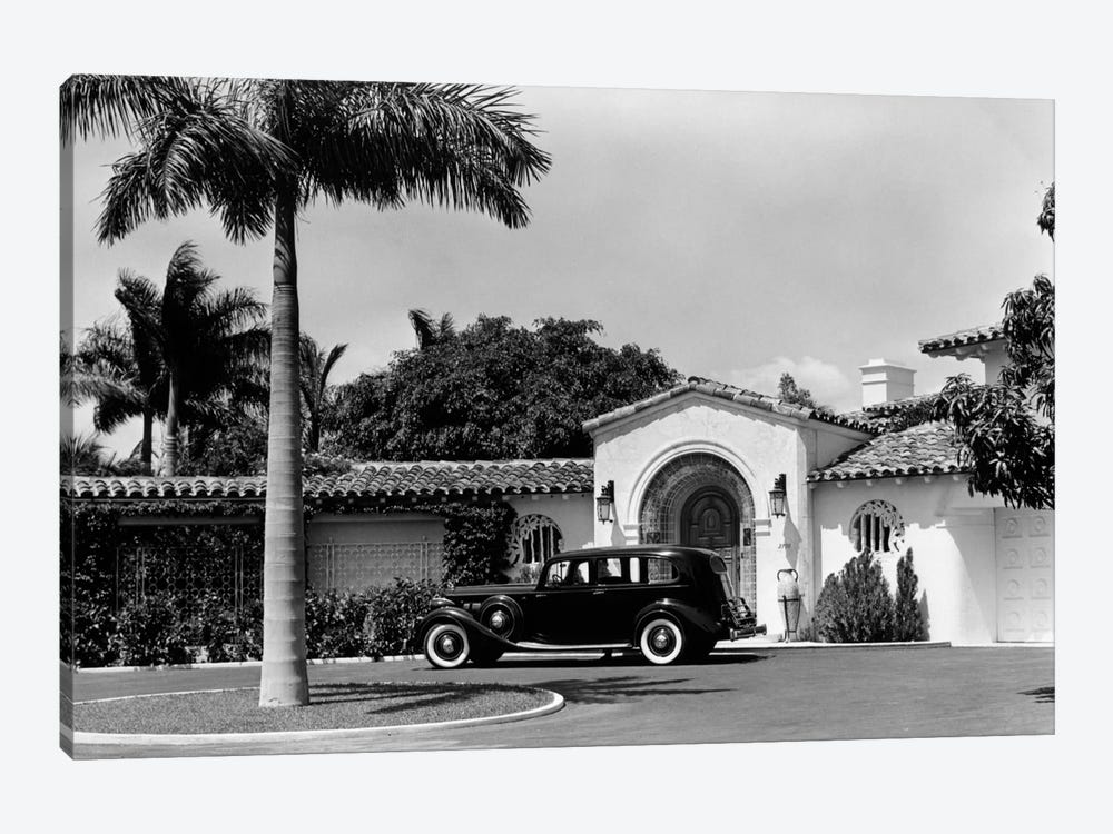 1930s Car In Circular Driveway Of Tropical Stucco Spanish Style Home In Sunset Islands Miami Beach Florida USA by Vintage Images 1-piece Art Print