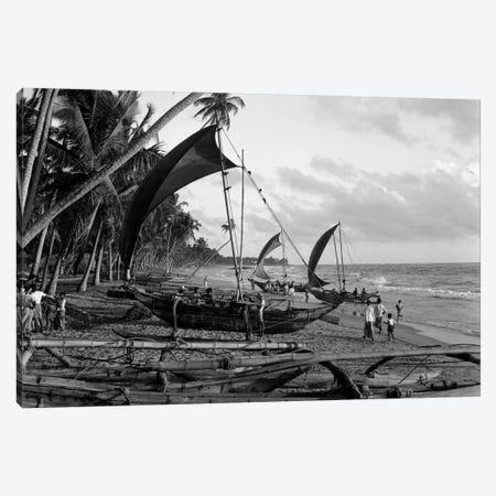 1930s Catamarans On Tropical Beach Indian Ocean Sri Lanka Canvas Print #VTG91} by Vintage Images Art Print