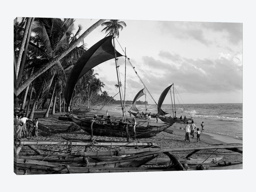 1930s Catamarans On Tropical Beach Indian Ocean Sri Lanka by Vintage Images 1-piece Canvas Wall Art