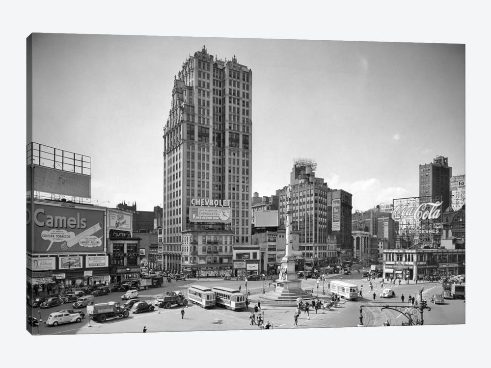 1930s Columbus Circle With Coca Cola Sign And Trolley Cars New York City USA by Vintage Images 1-piece Canvas Wall Art