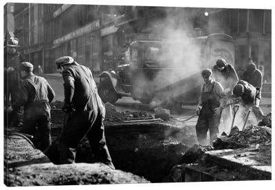 1930s Construction Street Workers Digging Ditch Boston Ma USA Canvas Art Print