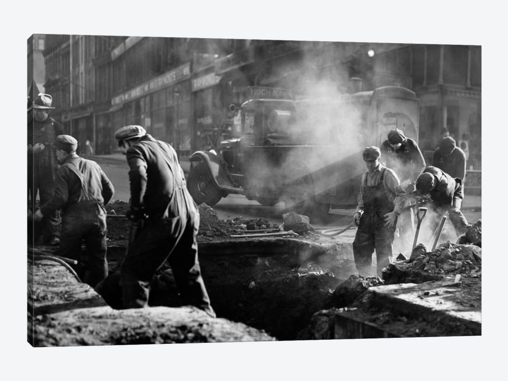 1930s Construction Street Workers Digging Ditch Boston Ma USA by Vintage Images 1-piece Art Print