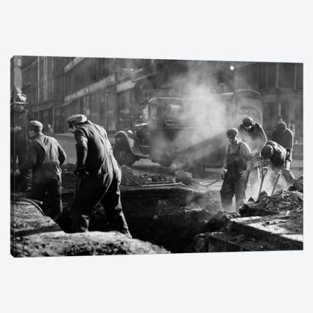 1930s Construction Street Workers Digging Ditch Boston Ma USA 3-Piece Canvas #VTG94} by Vintage Images Canvas Art
