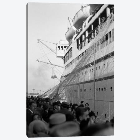 1930s Crowd Of People On Pier Wishing Bon Voyage To Sailing Traveling Passengers On Ocean Liner Cruise Ship Canvas Print #VTG95} by Vintage Images Canvas Art