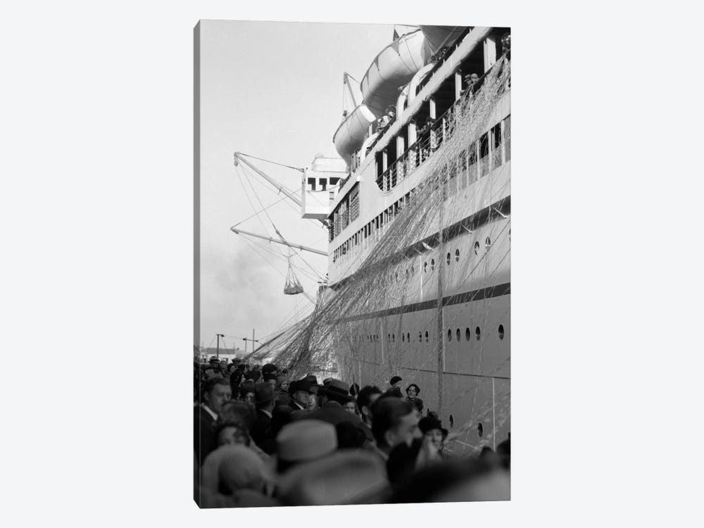 1930s Crowd Of People On Pier Wishing Bon Voyage To Sailing Traveling Passengers On Ocean Liner Cruise Ship by Vintage Images 1-piece Canvas Artwork