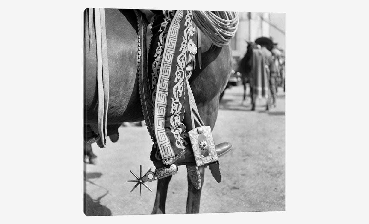 1930s Detail Of Traditional Charro Cowboy Costume Embroidered Chaps Spurs Leather Boots In Horses Stirrup Mexico by Vintage Images 1-piece Canvas Print