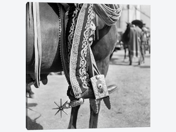 1930s Detail Of Traditional Charro Cowboy Costume Embroidered Chaps Spurs Leather Boots In Horses Stirrup Mexico Canvas Print #VTG96} by Vintage Images Canvas Artwork