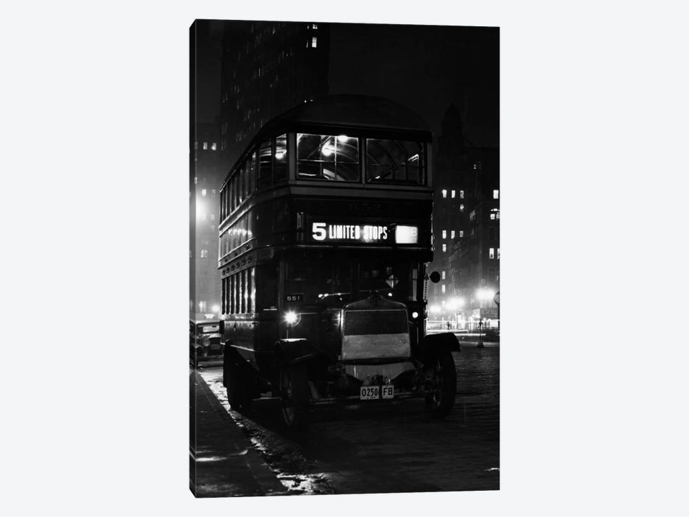 1930s Double Decker 5Th Avenue Bus At Night Near Flatiron Building New York City USA by Vintage Images 1-piece Canvas Artwork