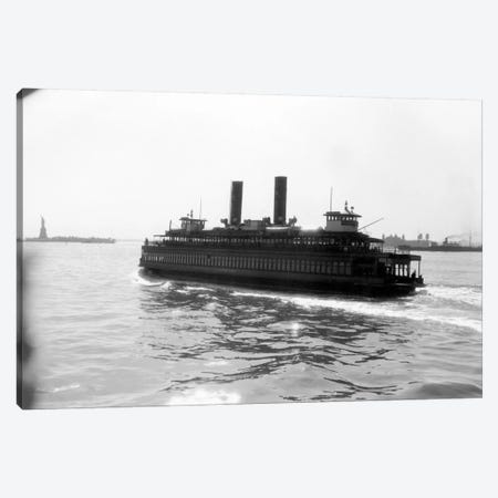1930s Ferry Boat With Two Smoke Stacks Viewed From The Stern Statue Of Liberty On Horizon New York City Harbor USA Canvas Print #VTG98} by Vintage Images Canvas Art Print