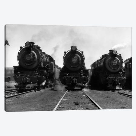 1930s Head-On Shot Of Three Steam Engine Train Locomotives On Tracks Canvas Print #VTG99} by Vintage Images Canvas Art Print