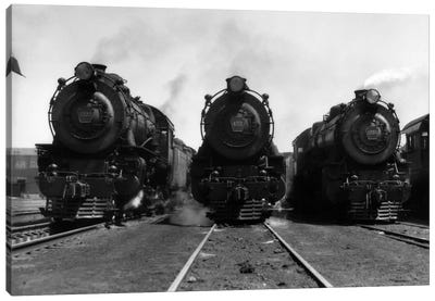 1930s Head-On Shot Of Three Steam Engine Train Locomotives On Tracks Canvas Art Print