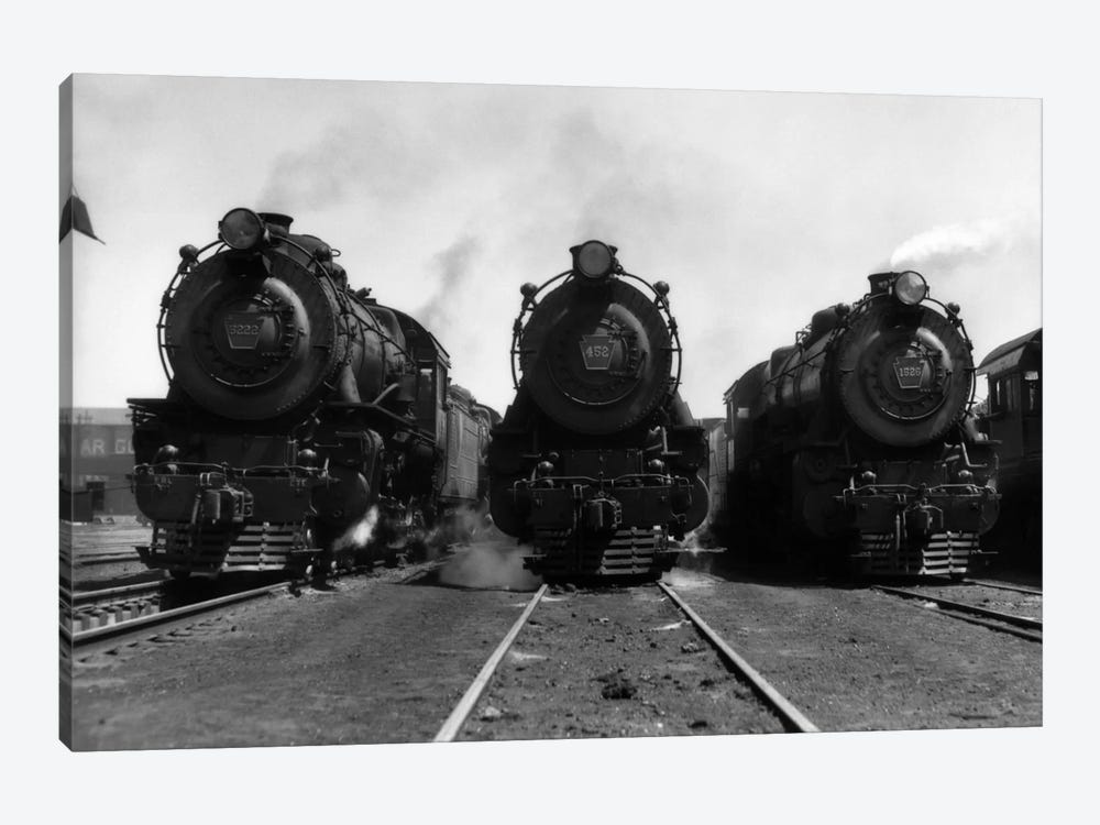 1930s Head-On Shot Of Three Steam Engine Train Locomotives On Tracks by Vintage Images 1-piece Canvas Art