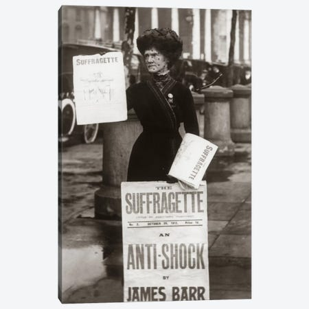 1900s British Suffragette Woman Distributing Literature Newsletter Flyer City Street Canvas Print #VTG9} by Vintage Images Canvas Print
