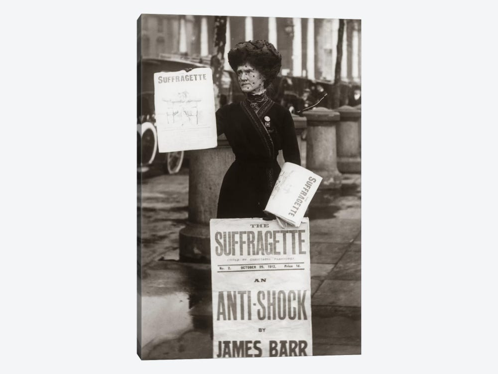 1900s British Suffragette Woman Distributing Literature Newsletter Flyer City Street by Vintage Images 1-piece Art Print