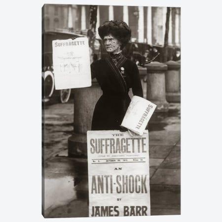 1900s British Suffragette Woman Distributing Literature Newsletter Flyer City Street Canvas Print #VTG9} by Vintage Images Canvas Print