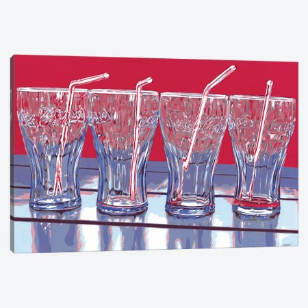 Coca-Cola Glasses Canvas Print #VTK119} by Vitali Komarov Canvas Artwork