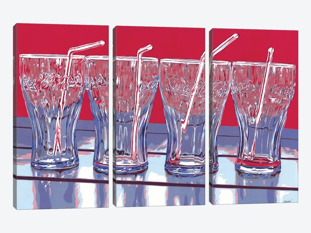 Coca-Cola Glasses by Vitali Komarov 3-piece Canvas Artwork