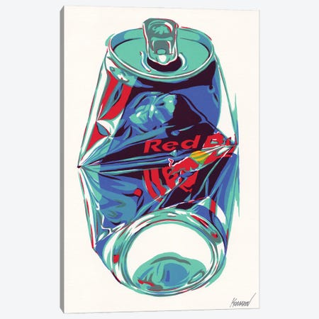 Crashed Red Bull Can Canvas Print #VTK18} by Vitali Komarov Canvas Art Print