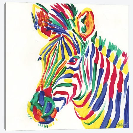Rainbow Zebra Canvas Print #VTK197} by Vitali Komarov Canvas Art Print