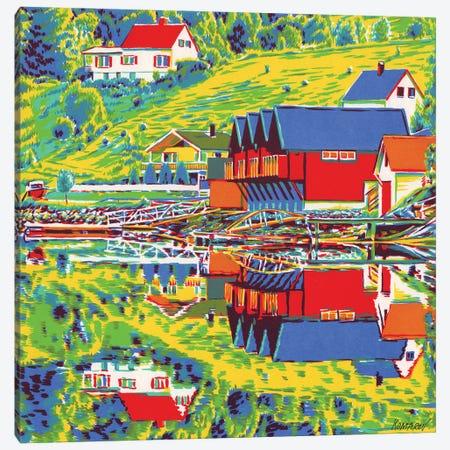 Norwegian Landscape With Fishing Cottages Canvas Print #VTK42} by Vitali Komarov Canvas Art