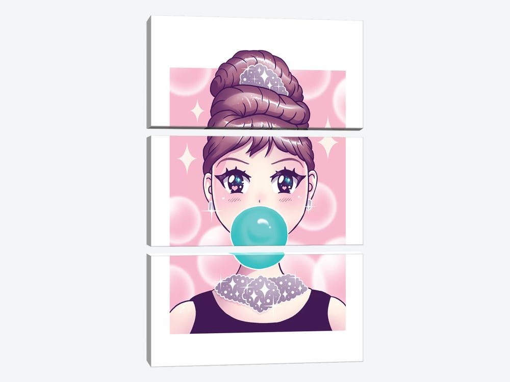 Kawaii Bubble Gum by Vincent Trinidad 3-piece Canvas Wall Art