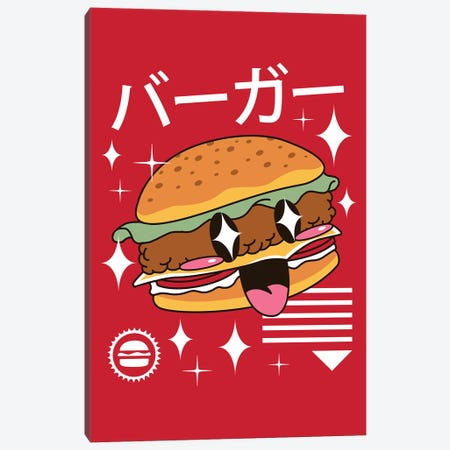 Kawaii Burger Canvas Print #VTR11} by Vincent Trinidad Canvas Artwork