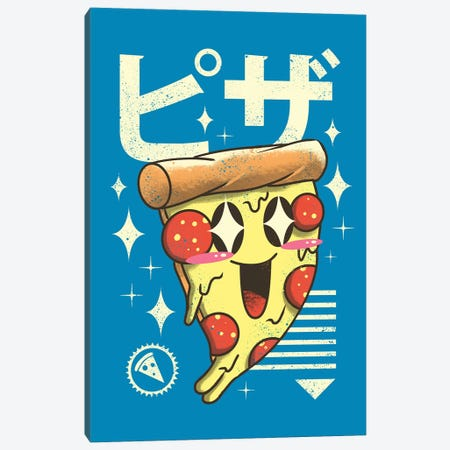Kawaii Pizza Canvas Print #VTR20} by Vincent Trinidad Art Print