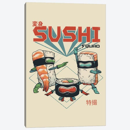 New Sushi Squad Canvas Print #VTR35} by Vincent Trinidad Canvas Print