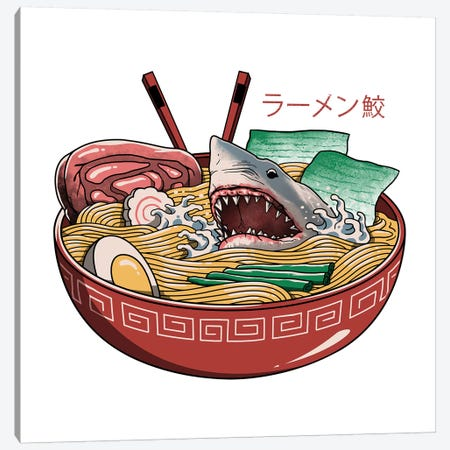 Ramen Shark Canvas Print #VTR37} by Vincent Trinidad Canvas Print