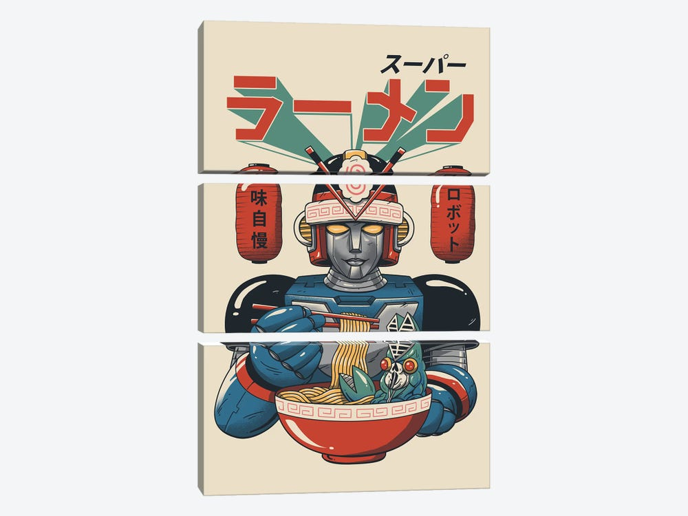 Super Ramen Bot by Vincent Trinidad 3-piece Canvas Artwork
