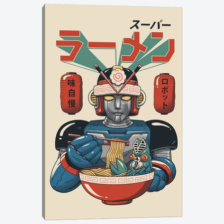 Super Ramen Bot Canvas Print #VTR41} by Vincent Trinidad Art Print