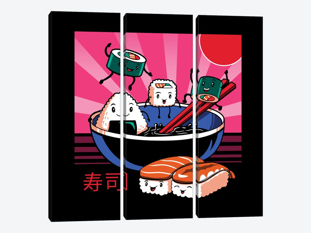 Sushi Retro Fun by Vincent Trinidad 3-piece Art Print
