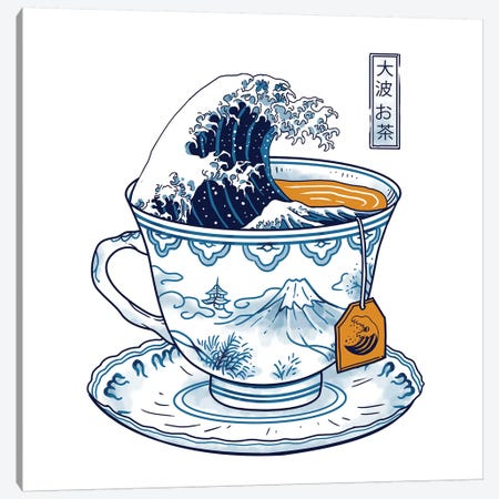 The Great Kanagawa Tea Canvas Print #VTR45} by Vincent Trinidad Canvas Wall Art