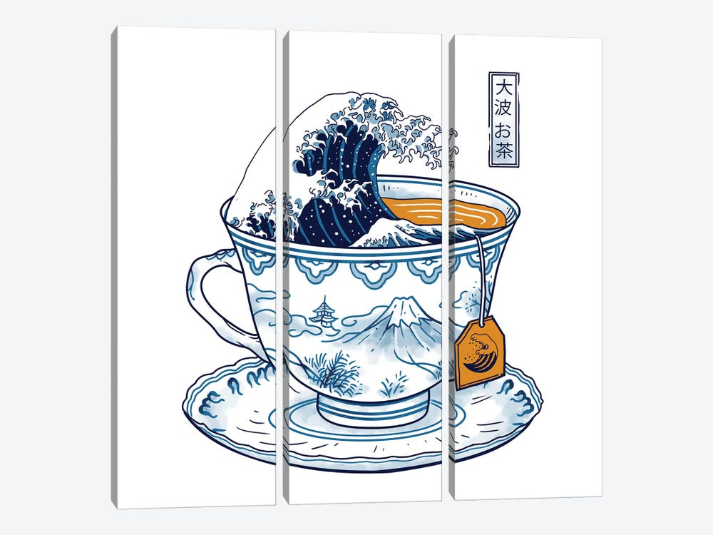 The Great Kanagawa Tea by Vincent Trinidad 3-piece Canvas Art