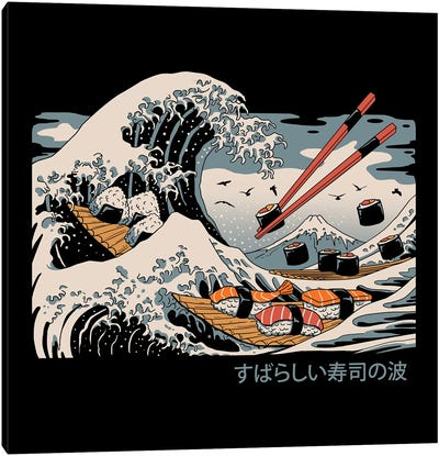 The Great Sushi Wave Canvas Art Print