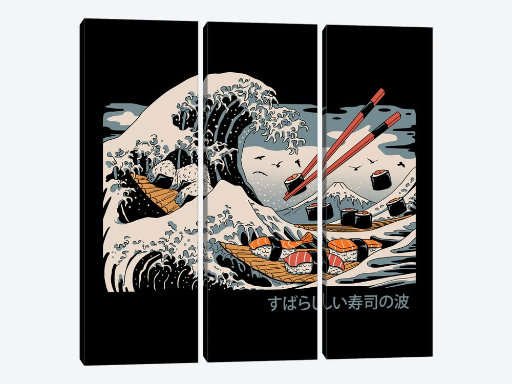 The Great Sushi Wave by Vincent Trinidad 3-piece Canvas Artwork
