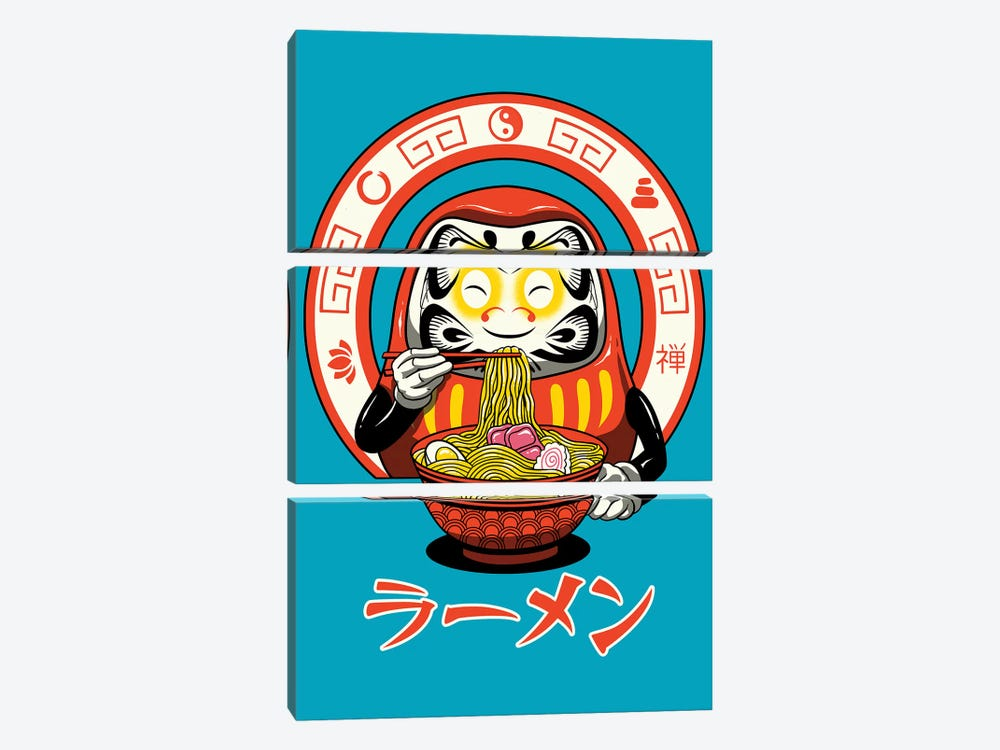 Daruma Zen Ramen by Vincent Trinidad 3-piece Canvas Art Print