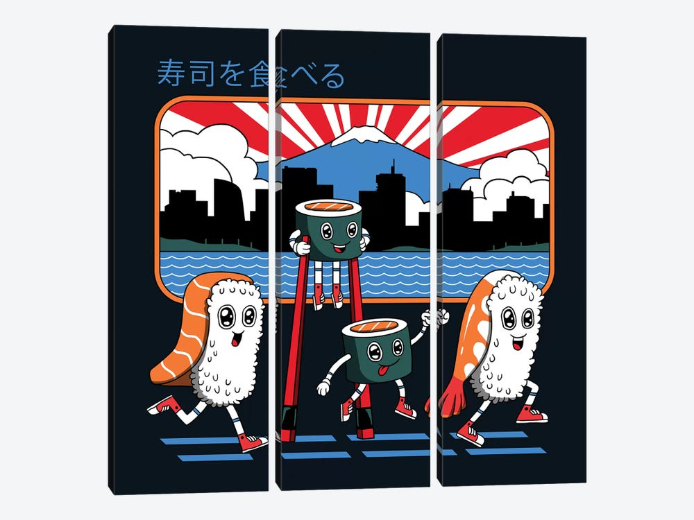 Tokyo Sushi Run by Vincent Trinidad 3-piece Canvas Artwork