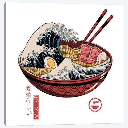 Great Ramen Wave Canvas Print #VTR5} by Vincent Trinidad Canvas Artwork