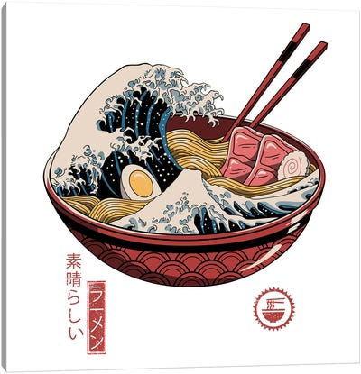 Great Ramen Wave Canvas Art Print