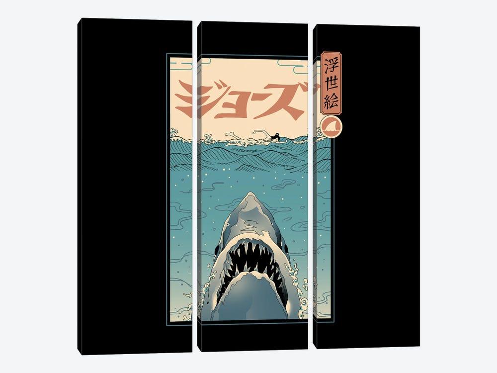 Shark Ukiyo-E by Vincent Trinidad 3-piece Canvas Art Print