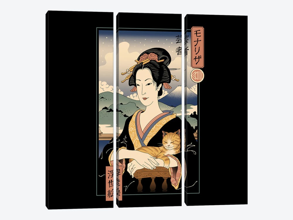 Ukiyo-E Lisa by Vincent Trinidad 3-piece Canvas Art