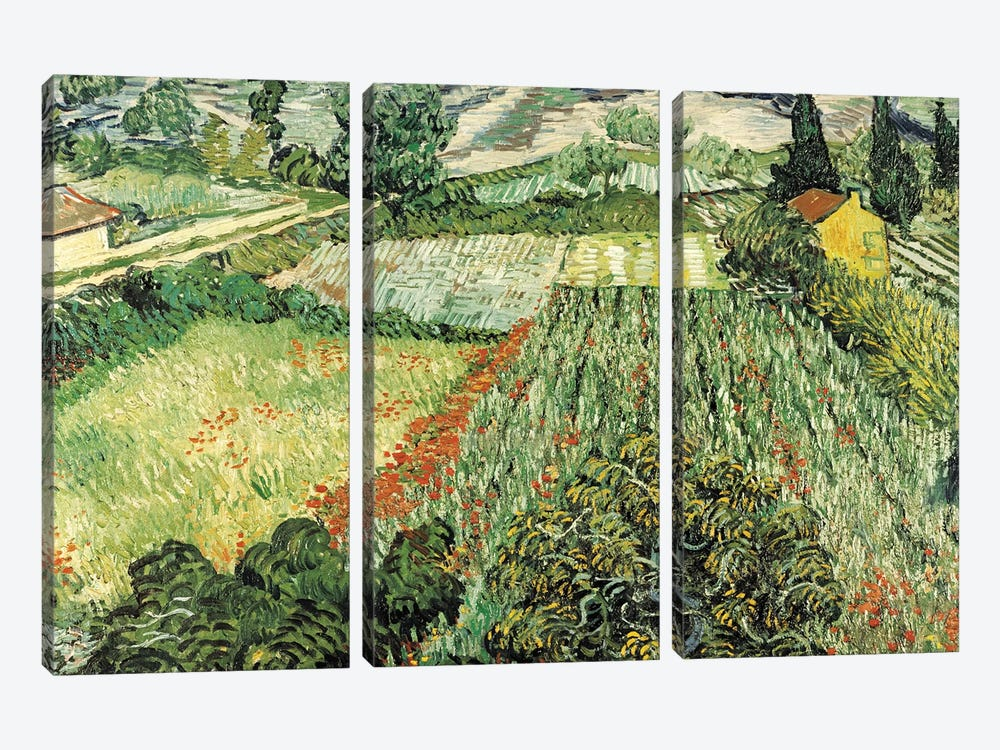 Feld Mit Mohnblumen by Vincent van Gogh 3-piece Canvas Wall Art