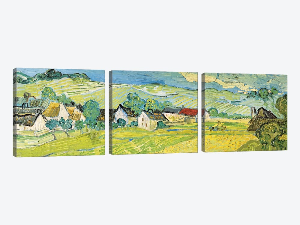 Vue Ensoleille Près D'Auvers by Vincent van Gogh 3-piece Canvas Art Print