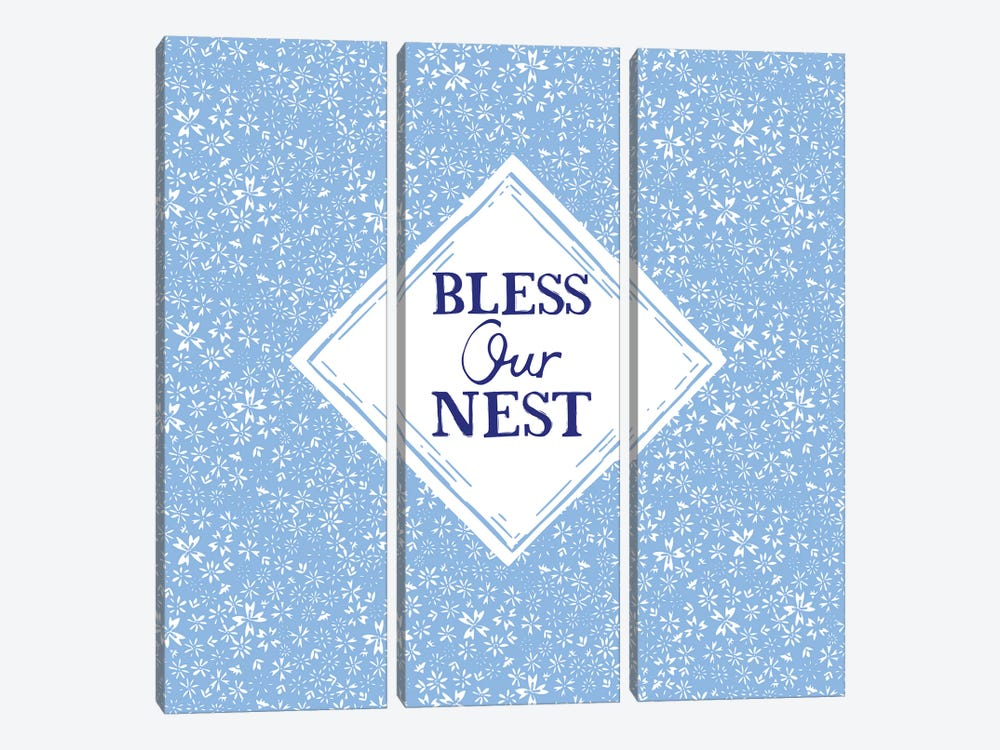 Bless Our Nest (Blue) by Vicky Yorke 3-piece Canvas Art