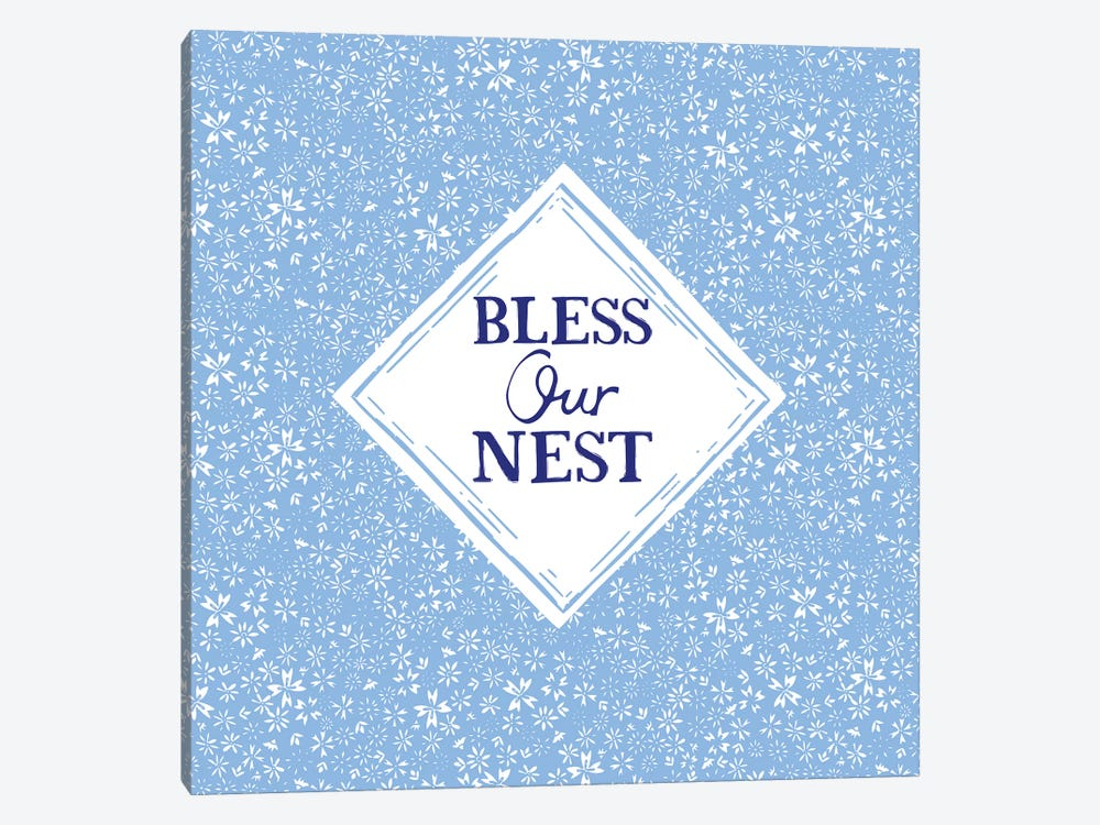 Bless Our Nest (Blue) by Vicky Yorke 1-piece Canvas Wall Art
