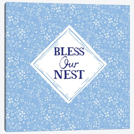 Bless Our Nest (Blue) Canvas Print #VYO13} by Vicky Yorke Canvas Wall Art
