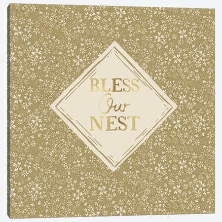 Bless Our Nest (Green) Canvas Print #VYO14} by Vicky Yorke Art Print