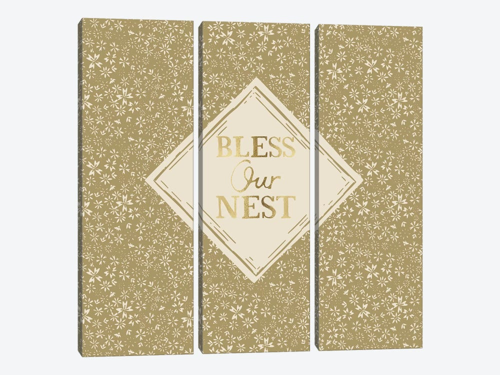 Bless Our Nest (Green) by Vicky Yorke 3-piece Canvas Art Print
