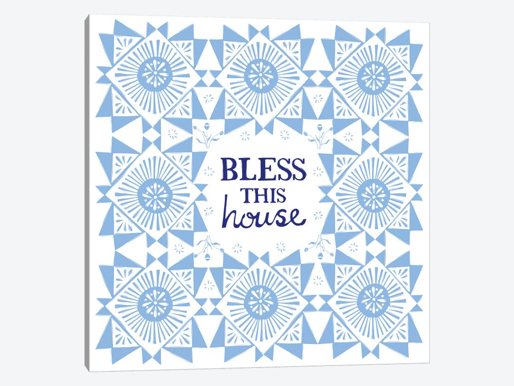 Bless This House (Blue) by Vicky Yorke 1-piece Canvas Wall Art